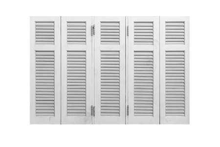 White wood shutters window frame isolated on a white background Standard-Bild