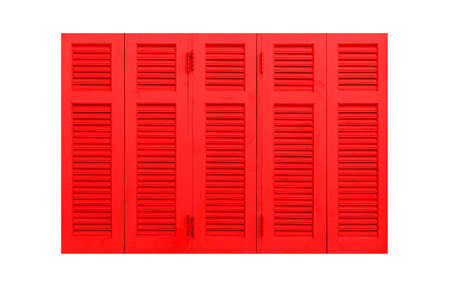 Red wood shutters window frame isolated on a white background