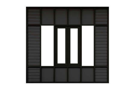 Black vintage old wooden door frame with louver isolated on a white background