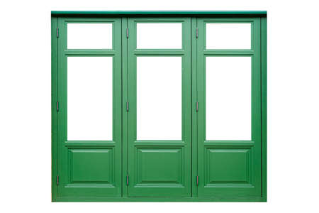 Vintage green painted wooden window frame isolated on a white background
