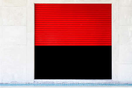 Red Steel shutter door stores open and close