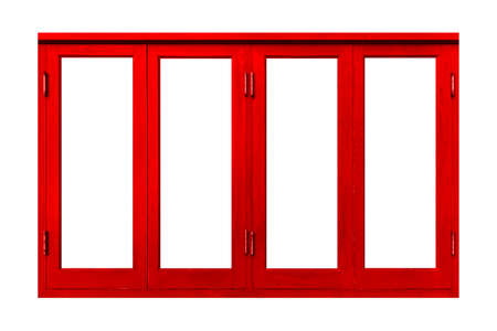 Vintage red painted wooden window frame isolated on a white background