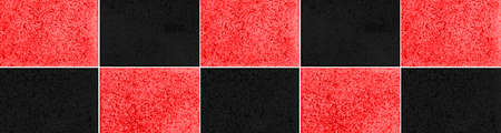 Panorama of Polished Granite Floor Tiles red and black texture and background seamless