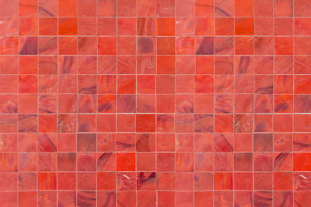 Vintage red mosaic wall texture and background seamless