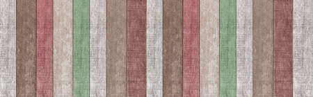 Panorama of Old wooden house wall with many colors in vintage style texture and background seamless
