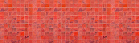 Panorama of Vintage red mosaic wall texture and background seamless Standard-Bild
