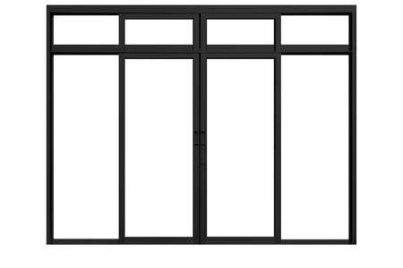 Black sliding aluminum window frame isolated on a white background