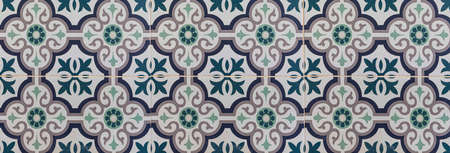 Panorama of Vintage antique ceramic tile pattern texture and seamless background