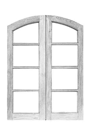 Vintage white painted wooden window frame isolated on a white background