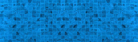 Panorama of Vintage blue mosaic wall texture and background seamless
