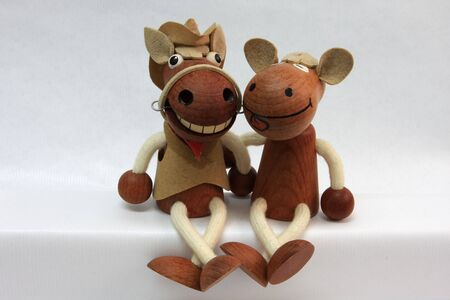 photograph of wooden puppets