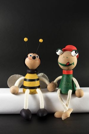 photograph of wooden puppets on a black background Stock Photo - 4725785