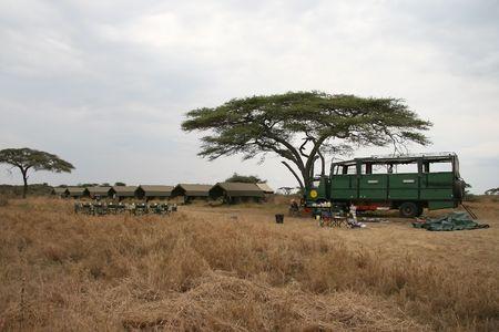 photography camp in Serengeti, Tanzania Stock Photo