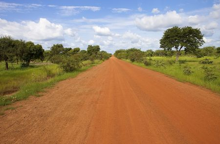 african village: African road in Burkina Faso Stock Photo