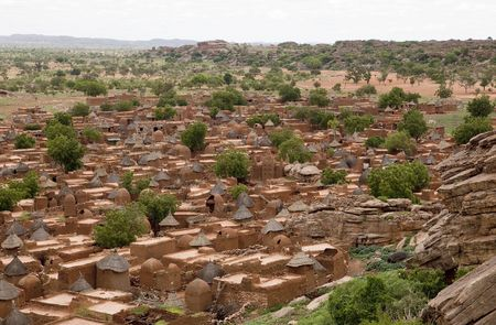 Mali: Songho village in Dogon Country, Mali Stock Photo