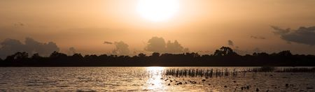 burkina faso: Panoramic sunset on Lake Tengrela, Burkina Faso Stock Photo