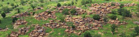 panoramic Dogon village in Mali