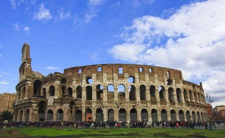ruins is ancient: outside Roman Coliseum Stock Photo
