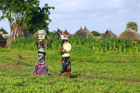 ni�os pobres: Pa�s Bissa, Burkina Faso - agosto 9,2009: mujer de Bissa �tnico camino al trabajo en el campo, las mujeres son responsables de cultivo y las tareas dom�sticas.