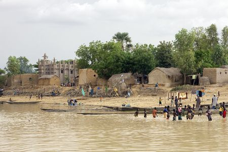 Mopti,Mali - August 16,2009 : Bozo ethnic village, the village life revolves around the Niger River, its source of funds. Stock Photo - 6886643
