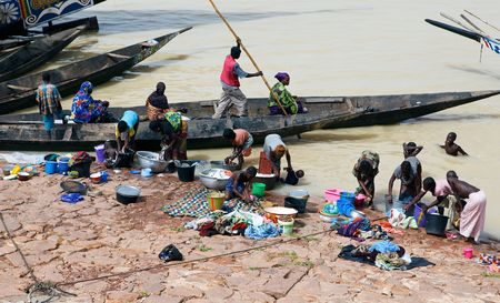AUGUST 16: Scene of cleanliness in the Niger River, the population with fewer resources using the river bank for personal hygiene and cleanliness, August 16, 2009 in Mopti, Mali