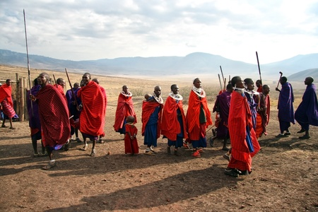 masai: Ngorongoro,Tanzania - August 18,2007 : Massai Warriors exhibits her dance before the visit of tourists, their main source of revenue today.