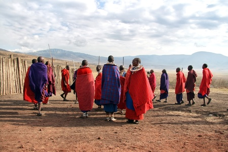 Ngorongoro,Tanzania - August 18,2007 : Massai Warriors exhibits her dance before the visit of tourists, their main source of revenue today.  Stock Photo - 9144325