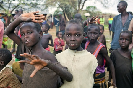 UGANDA - AUGUST 9: Chindren of the Karamojong ethnic group, live in northeastern Uganda, is currently in the process of disarmament, August 9, 2010 in Karamoja, Uganda