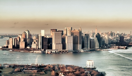 aerial view of sunset in Manhattan, HDR Stock Photo