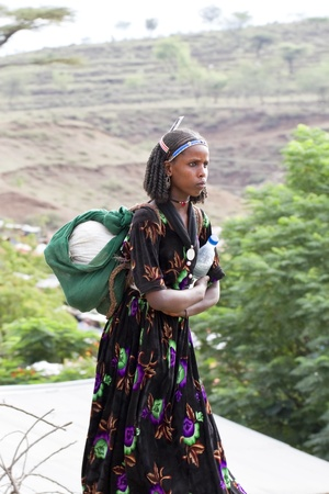 sembete, Etiopía, 31 de julio de 2011 - mujeres del mercado étnico oromo devuelve sembete semanal. Editorial