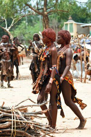 turmi, ethiopia, august 15, 2011 - at the weekly market turmi ethnic groups come omo valley, main hammer, karo and dassanech.