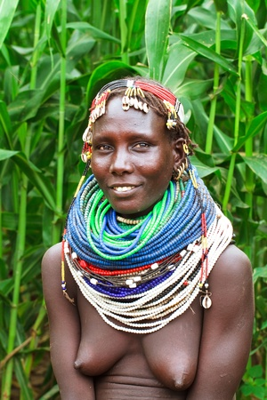 omo valley, ethiopian, august 14, 2011 - women of ethnic nyangatom, the nyangatom live mainly on agriculture along the omo river. Stock Photo - 10499790