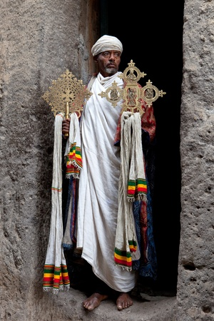 lalibela, ethiopia - august 3, 2011: priest asheten mariam, lalibela Editorial