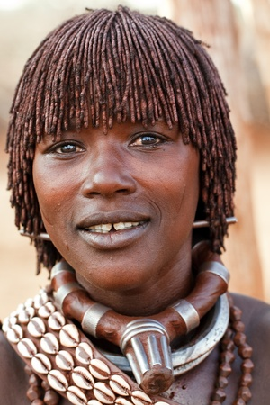 ethiopia: omo valley, ethiopian - august 15, 2011: woman posing hamer ethnicity in the village, the omo valley ethnic groups could disappear with the construction of gibe iii hydroelectric dam. Editorial