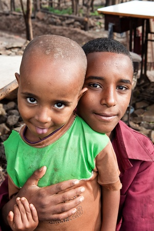 ethiopia: Woreta, Ethiopia, August 6, 2011: Children of Amara ethnic group in the weekly market in the city.