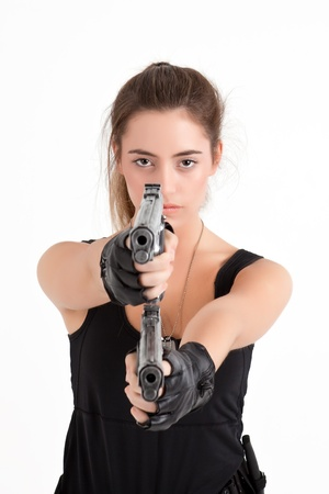 sexy police: model woman with guns