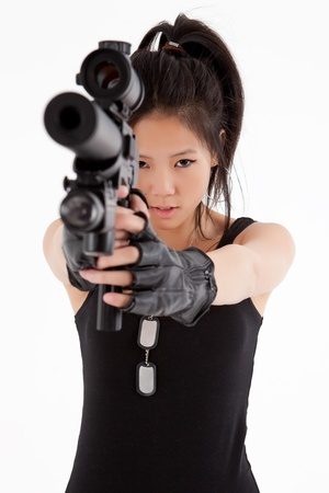 women with guns: Asian woman with gun