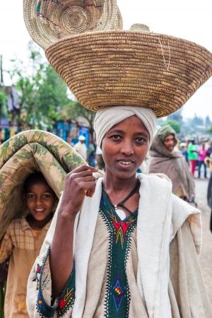 ethiopian: Woreta, Ethiopia, August 6, 2011: Woman of Amara ethnic group in the weekly market in the city.