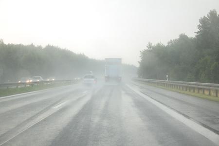 Aquaplaning on the highway Фото со стока