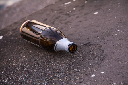 Beer bottle on street