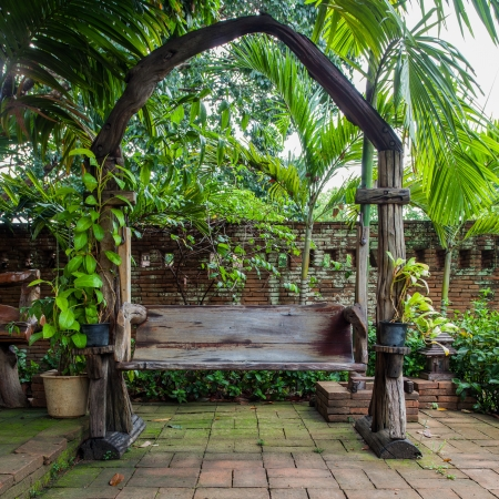 Wooden chairs in the garden photo