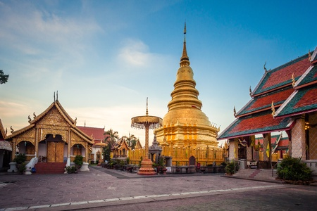Wat phra that hariphunchai was a measure of the Lamphun,Thailand photo