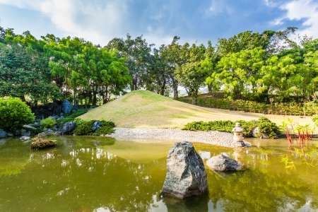 Pond and Water Landscape in Japanese Garden