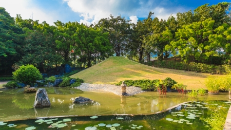 Pond and Water Landscape in Japanese Garden photo