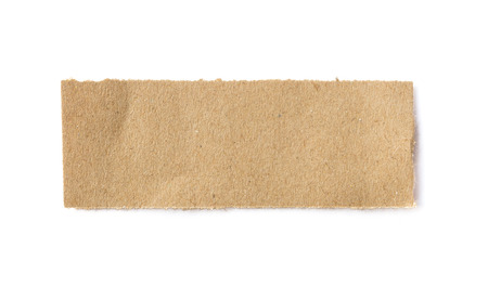 Torn brown paper sheet on white background photo