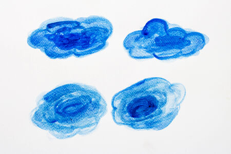 Beautiful watercolor clouds  hand paint on white background photo