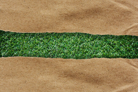 brown recycled paper ripped on grass with space for text photo