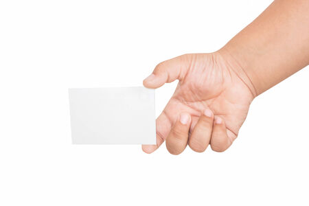 boy hand holding blank card, isolated on white photo