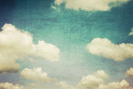 puffy: sky and white clouds vintage  Stock Photo