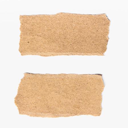paper craft: dos trozos de papel en blanco aislado en fondo blanco Foto de archivo